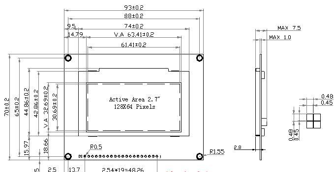 此款128*64 oled显示模块,为兼容原市场上常用的12864lcm(t7920控